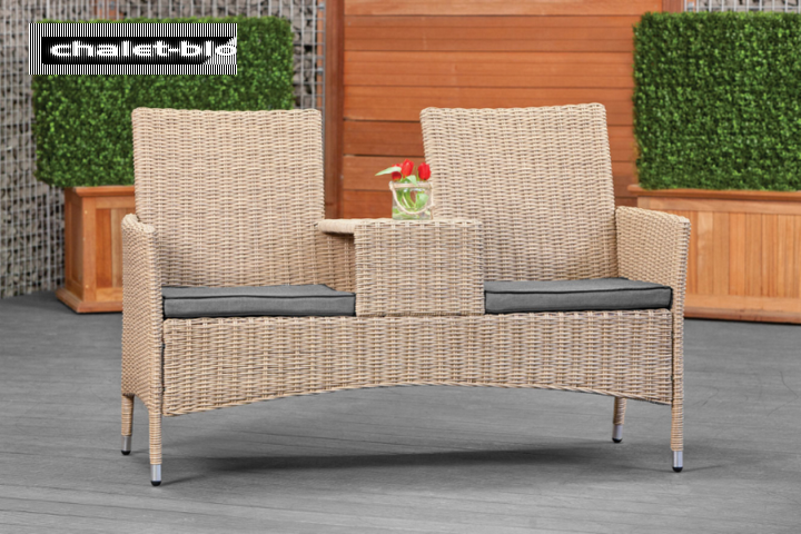 Loveseat Wicker Pescara  65cm x 145cm  mit anthrazitfarbenen Polsterkissen