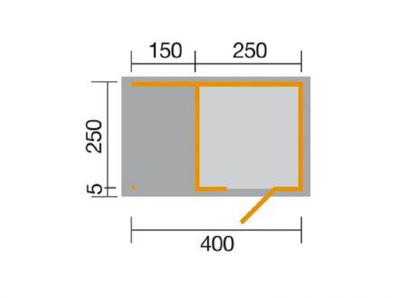 400 x 250cm gartenhaus line 413 a gr 1 natur 45 mm einzelt r anbau 150 cm vom steinfigur und. Black Bedroom Furniture Sets. Home Design Ideas