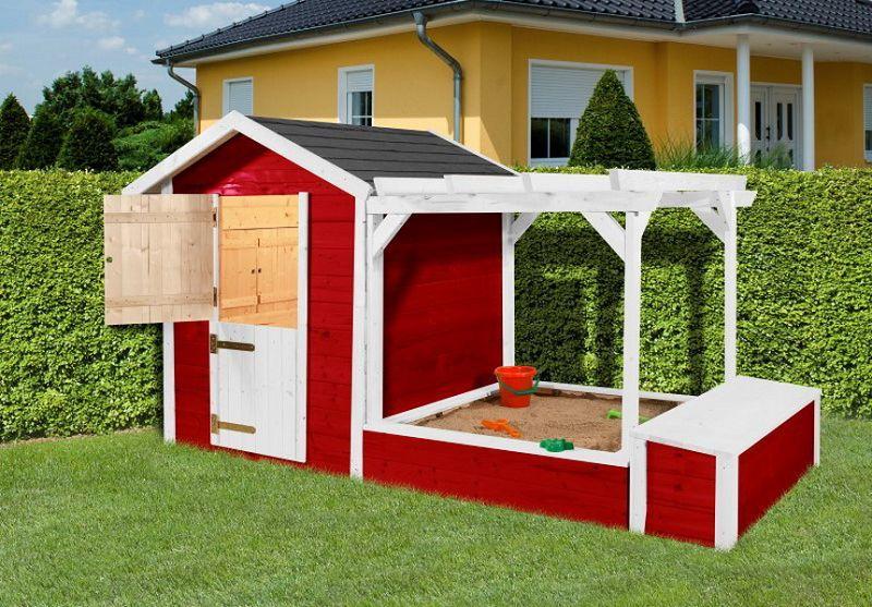 274 x 122cm kinderspielplatz 818 rot weiss 21 mm bestehend aus kinderspielhaus sandkasten. Black Bedroom Furniture Sets. Home Design Ideas