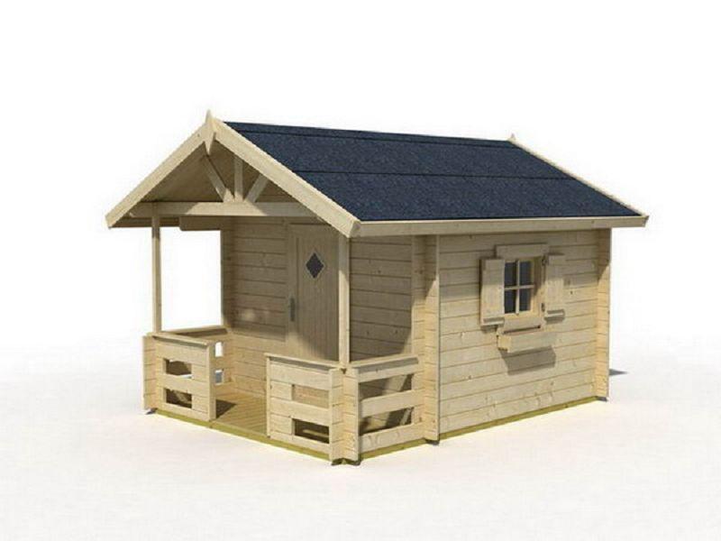 Kinder spielhaus lido mit terrasse sandra kinderspielhaus for Cabane en bois moderne