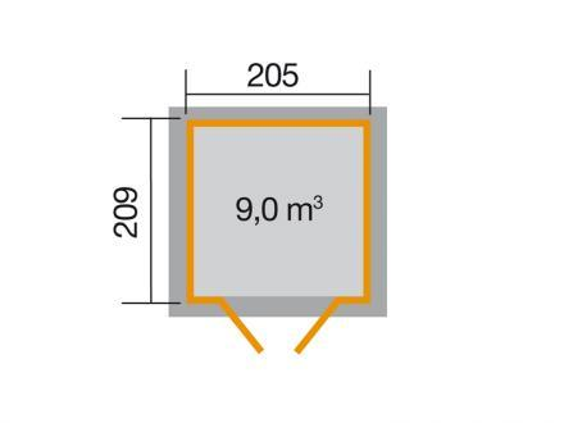 205 x 209cm gartenhaus 226 gr 1 grau 21 mm vom steinfigur und gartenhaus shop. Black Bedroom Furniture Sets. Home Design Ideas