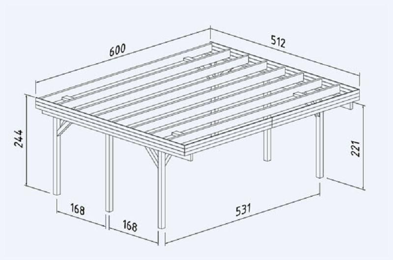 doppelcarport karl 20 6 m2 600x512cm vom steinfigur und gartenhaus shop. Black Bedroom Furniture Sets. Home Design Ideas